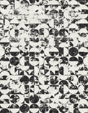 Washed out black and white rug whose design is made of circles and half circles