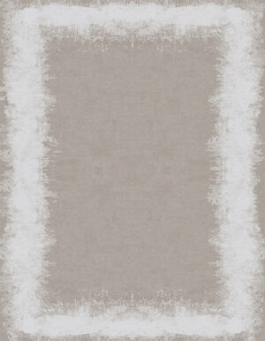 Greige and natural white rug with a wide irregular border