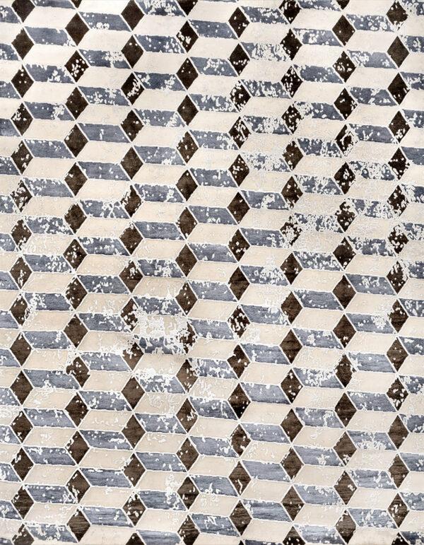 Geometric rug in black, blue and ivory