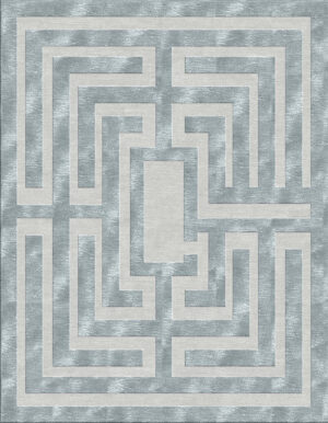 Grey bluish carpet with labyrinth design made of wool and silk