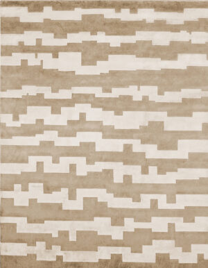 Beige carpet made in wool and silk whose design is made of stripes of irregular shape