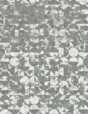 Washed out grey rug whose design is made of circles and half circles