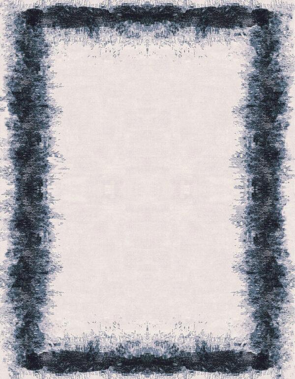 Rug carpet wih blue irregular border designed on a beige background