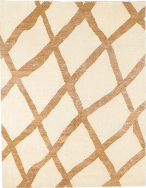 Carpet rug with brown tribal rhombuses on beige background