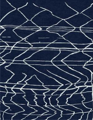 Blue carpet with Berber style made of random lines