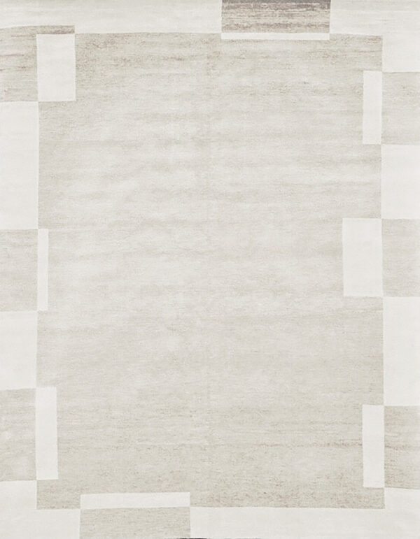 Beige carpet in himalayan wool and silk with border