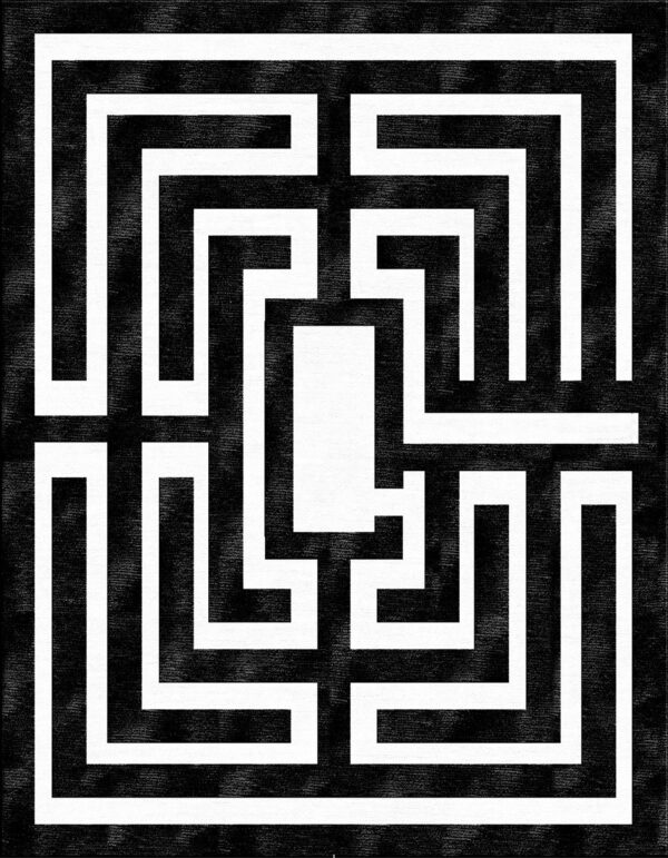 Black and white carpet with labyrinth design made of wool and silk handknotted