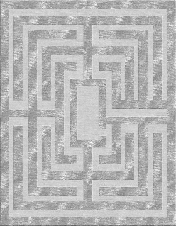 Grey carpet with labyrinth design made of wool and silk