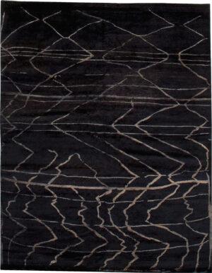 Black and beige carpet Berber design made of wool and silk