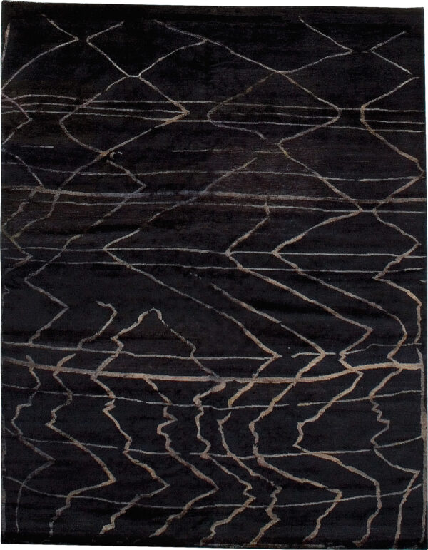Black and beige carpet Berber design made of wool and silk