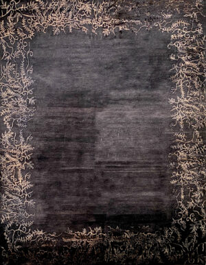Black carpet with plant decoration on boarders made of wool and silk