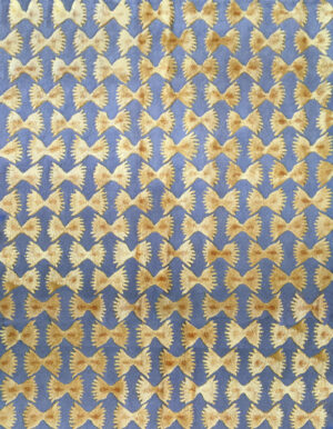 Light blue and brown carpet with pasta decoration made of wool and silk and designed by Alessandro Enriquez